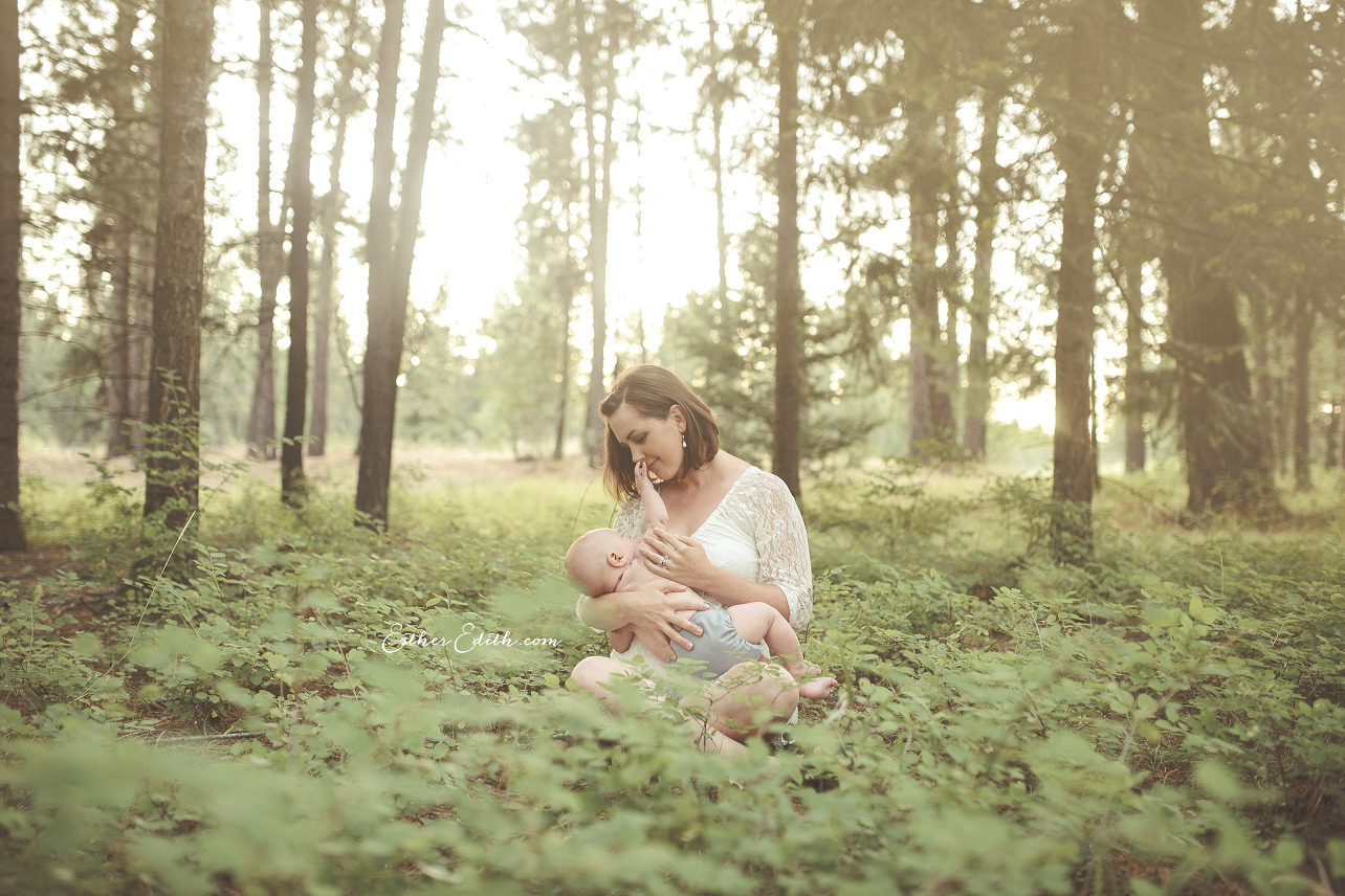 Professional Breastfeeding Photography, Nursing Portraits, Spokane Motherhood Photography, Esther Edith Photographer and Doula, Enchanted Woods, Spokane Photographers
