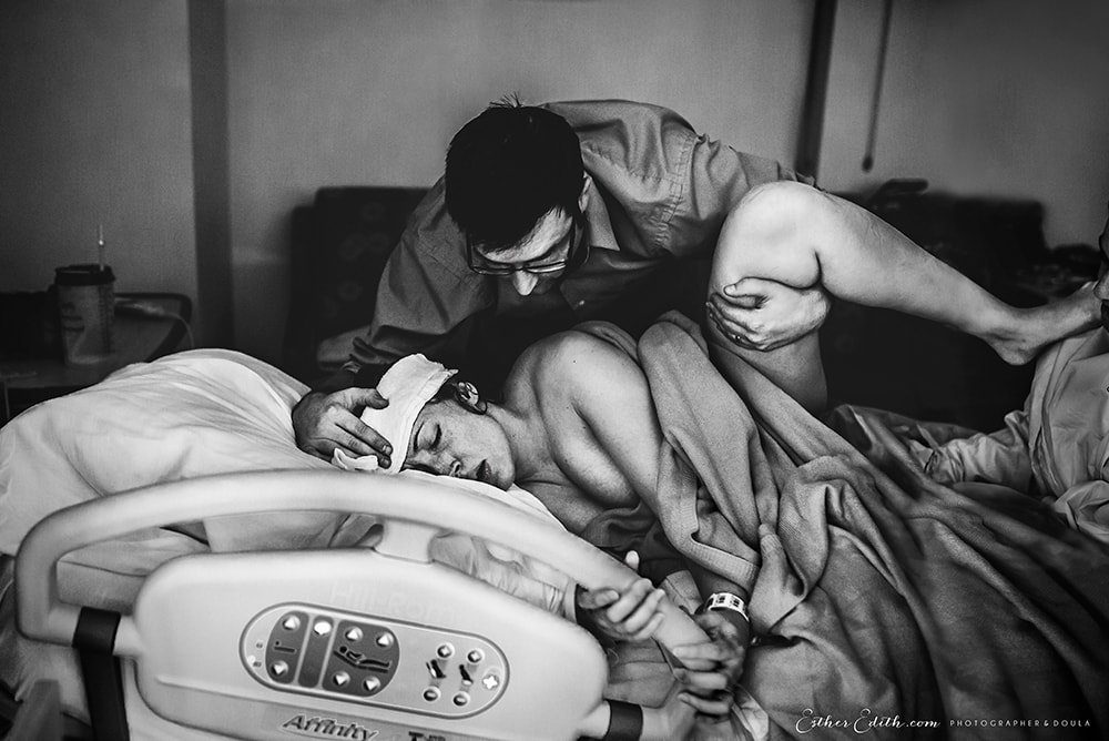 International Association of Birth Photographers 2017 competition, labor birth photography, hospital birth, peaceful birth photo, husband and wife birth photography